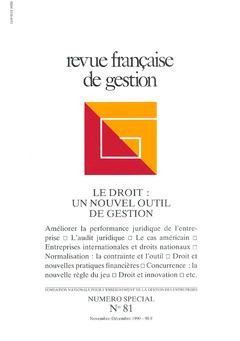 Couverture de l'ouvrage Revue française de gestion N°81 novembre décembre 1990