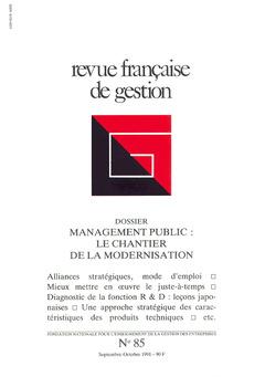 Couverture de l'ouvrage Revue française de gestion N°85 septembre-octobre 1991
