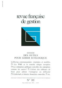 Couverture de l'ouvrage Revue française de gestion N°89 juinjuillet-août 1992