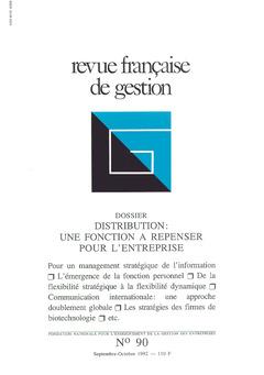 Couverture de l'ouvrage Revue française de gestion N°90 septembre-octobre 1992
