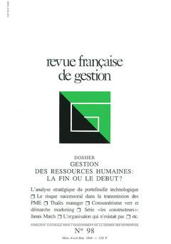 Couverture de l'ouvrage Revue française de gestion N° 98 marsavril-mai 1994
