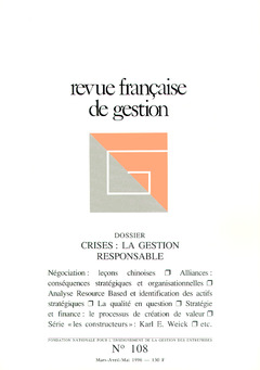 Couverture de l'ouvrage Revue française de gestion N° 108 marsavril-mai 1996