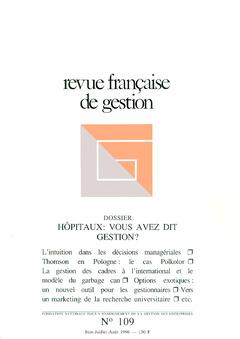 Couverture de l'ouvrage Revue française de gestion N° 109 juinjuillet-août 1996