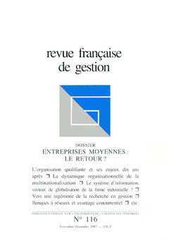 Couverture de l'ouvrage Revue française de gestion N°116 novembre-décembre 1997