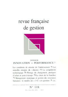 Couverture de l'ouvrage Revue française de gestion N°118 marsavril-mai 1998 : innovation = performance ?