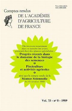 Couverture de l'ouvrage Progrès récents dans le domaine de la biologie des semences / Pisciculture et activités agricoles