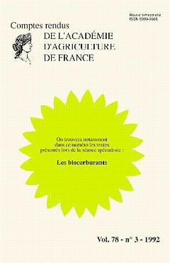 Couverture de l'ouvrage Les biocarburants (Comptes-rendus de l'AAF vol.78- n°3-1992 )