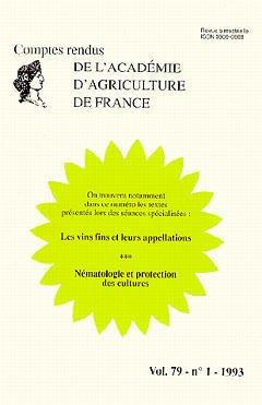 Couverture de l'ouvrage Les vins fins & leurs appellations Nématologie & protection des cultures Vol. 79 - N°1 - 1993