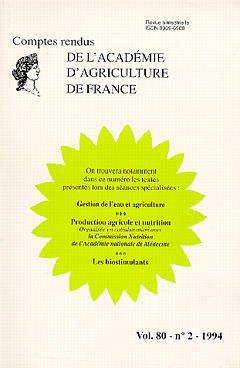 Couverture de l'ouvrage Gestion de l'eau & agriculture Production agricole & nutrition Les biostimulants - Vol.80 N°2 1994