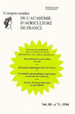 Couverture de l'ouvrage Ruissellement & conservation des sols Ressources génétiques chez les Prunus Formations agronomiques supérieures Analyse du risque financier Vol.80 N°5