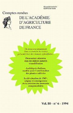 Couverture de l'ouvrage Phénomènes aléatoires dans les milieux naturels et modélisation,arabidopsis tha liana,modele pour l'amelioration...,la devaluation de 1969(vol 80 n°6 1994)