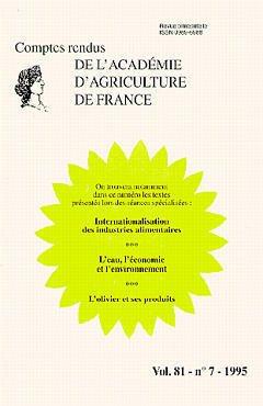 Couverture de l'ouvrage Internationalisation des industries alimentaires,l'eau , l'économie et l'environnement...(Comptes rendus AAF Vol.81 N°7 1995)