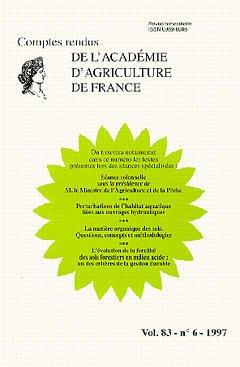 Couverture de l'ouvrage Pertubations de l'habitat aquatique liées aux ouvrages hydrauliques (Comptes rendus de l'AAF Vol.83 n°6 1997)
