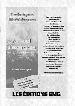Couverture de l'ouvrage Techniques statistiques (manuel d'exercices)
