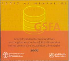Couverture de l'ouvrage General standard for food additives. GFSA 2006