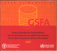 Couverture de l'ouvrage General standard for food additives. GFSA 2007
