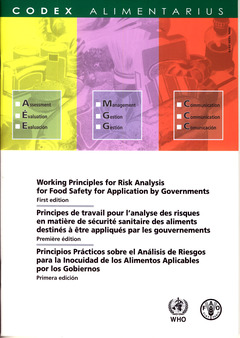 Couverture de l'ouvrage Working principles for risk analysis for food safety for application by governments