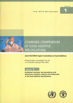 Couverture de l'ouvrage Combined compendium of food additive specification. Joint FAO/WHO expert committee on food additives. All specifications...Vol.4 : analytical methods