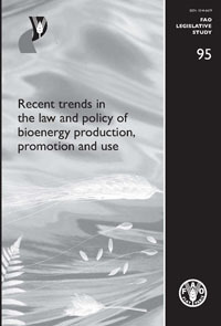 Couverture de l'ouvrage Recent trends in the law and policy of bioenergy production, promotion and use