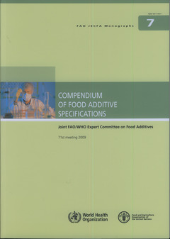 Couverture de l'ouvrage Compendium of food additive specifications