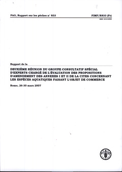 Couverture de l'ouvrage Rapport de la deuxième réunion du groupe consultatif spécial d'experts chargé de l'évaluation des propositions d'amendements des annexes I et II de la CITES