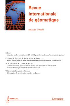 Couverture de l'ouvrage Revue internationale de géomatique Volume 20 N° 4/Octobre-Décembre 2010