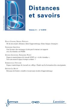 Couverture de l'ouvrage Distances et savoirs Vol.8 N° 4/OctobreDécembre 2010