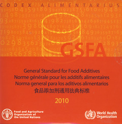 Couverture de l'ouvrage General standard for food additives. GFSA 2010