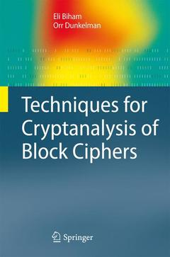 Cover of the book Techniques for cryptanalysis of block ciphers (series: information security and cryptography)