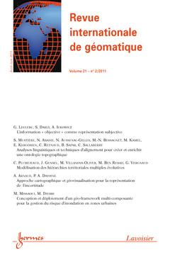 Couverture de l'ouvrage Revue internationale de géomatique Volume 21 N° 2/Avril-Juin 2011
