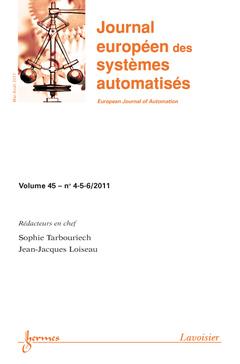 Couverture de l'ouvrage Nouvelles tendances en automatique (Journal européen des systèmes automatisés Volume 45 N° 4-5-6/Mai-Août 2011)