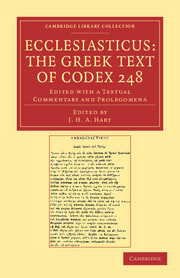Cover of the book Ecclesiasticus: the greek text of codex 248: edited with a textual commentary and prolegomena