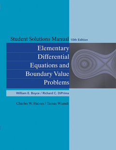 Couverture de l'ouvrage Student Solutions Manual to accompany Boyce Elementary Differential Equations 10e & Elementary Differential Equations with Boundary Value Problems 10e