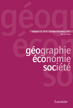 Couverture de l'ouvrage Géographie, économie, société Vol. 13 N° 4 - Octobre-Décembre 2011