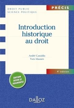 Couverture de l'ouvrage Introduction historique au droit