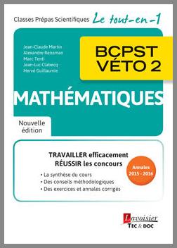 Couverture de l'ouvrage Mathématiques BCPST-VÉTO 2 (2e éd.)