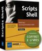 Couverture de l'ouvrage Scripts Shell - coffret de 2 livres