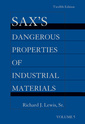 Couverture de l'ouvrage Sax's dangerous properties of industrial materials (5-Volume set print and CD package)